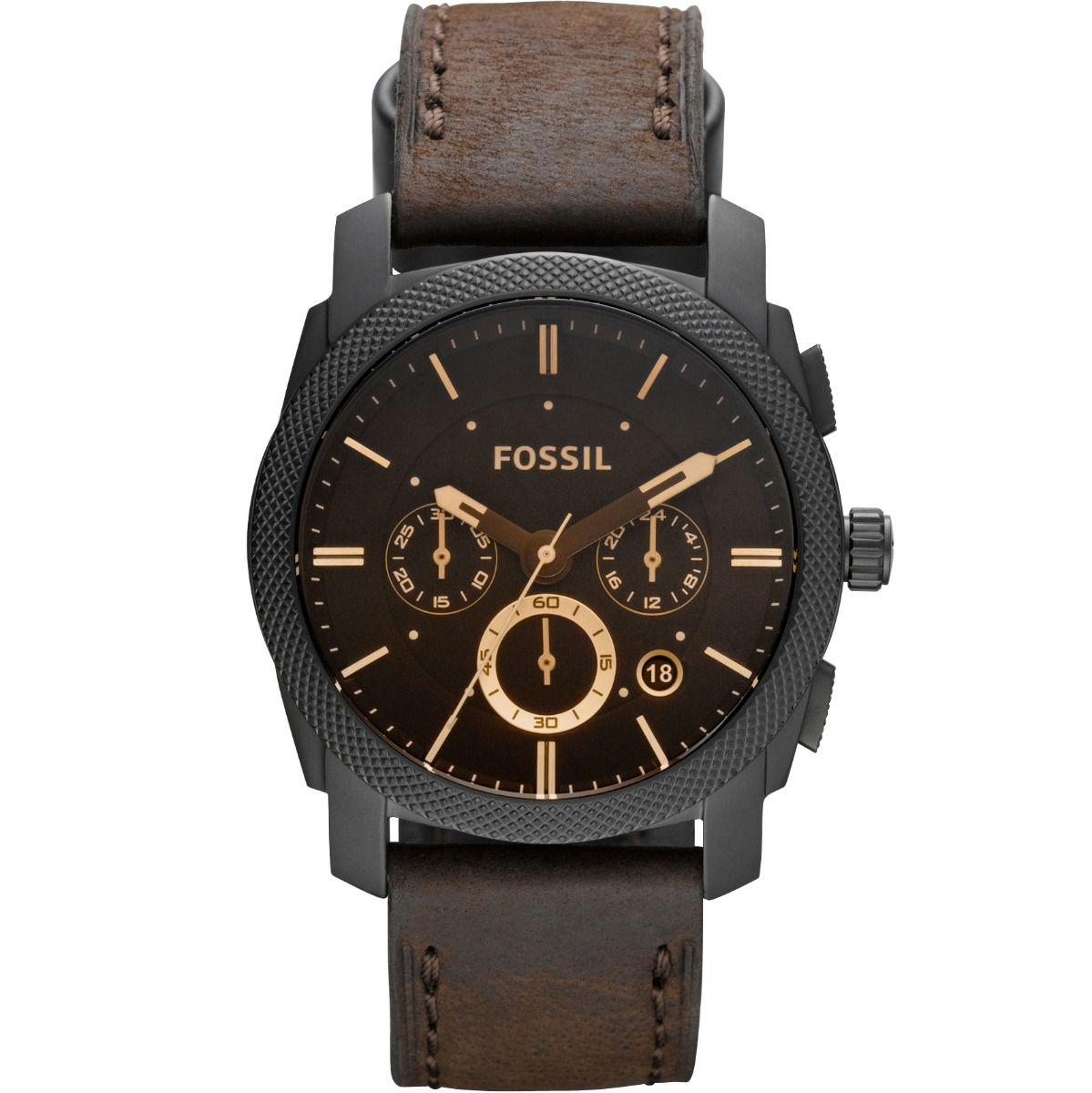 best chronograph watch: Fossil FS4656 Machine Chronograph Brown Leather Strap