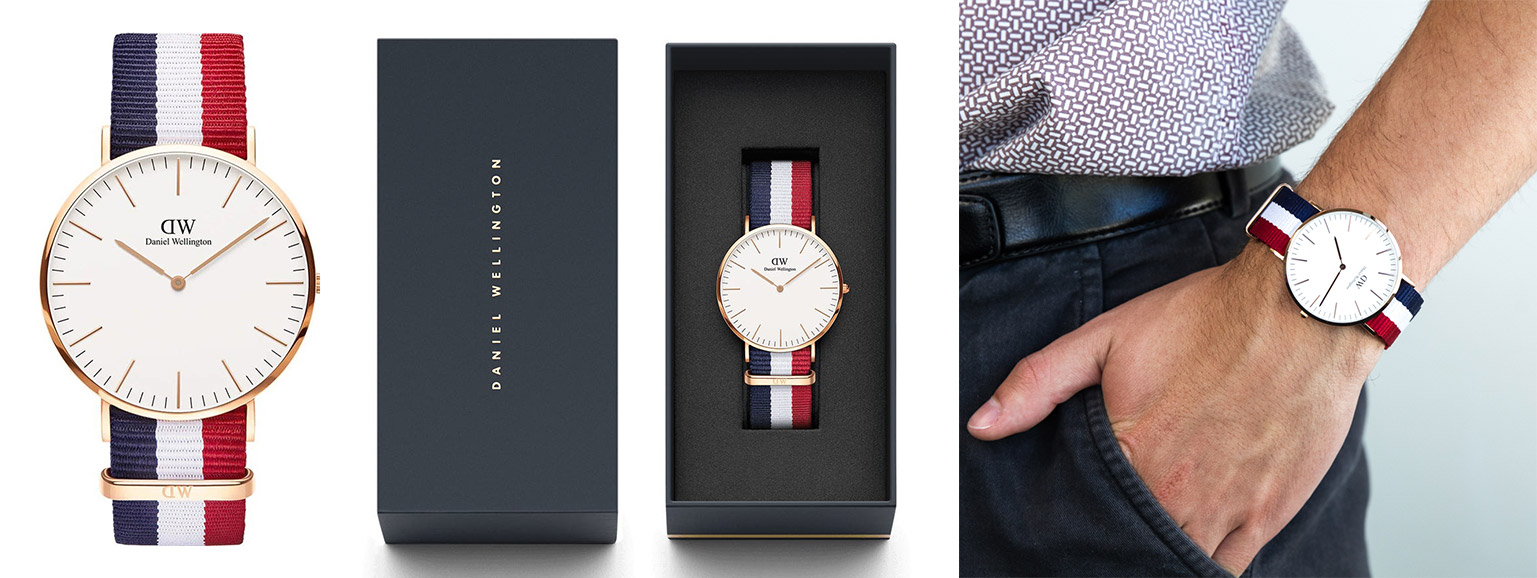 an overview of daniel wellington watch bands: nato red blue classic strap
