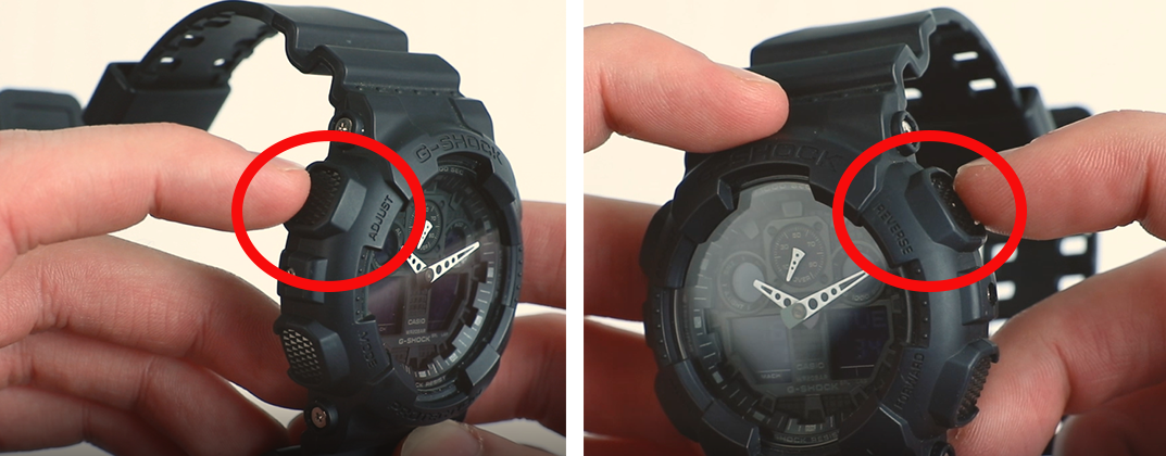 how to change time on g-shock top two buttons