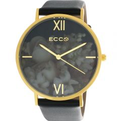 Ellis & Co Collection Floral Gold Tone Bloom Floral Black/White 41mm Womens Watch