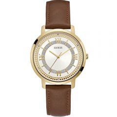 Guess W0934L3 Brown Leather Strap Ladies Watch