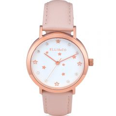 Ellis & Co Stainless Steel Leather Strap Womens Watch