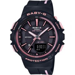 Casio Baby-G BGS100RT-1A Step Tracker Black and Rose Ladies Watch