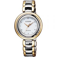 Citizen Eco-Drive Jewel Bottom EM0664-84A Two-Tone Stainless Steel Womens Watch