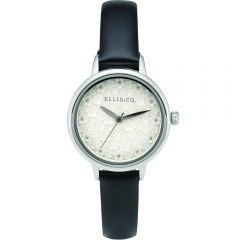 Ellis & Co Daisy Black Leather Womens Watch