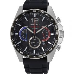 Seiko SSB347P Black Silicone Mens Watch