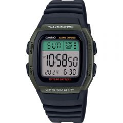 Casio W96H-3A Digital Black Resin Youth Watch