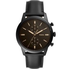 Fossil Townsman FS5585 Chronograph Black Leather Mens Watch