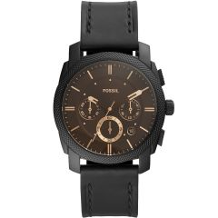 Fossil Machine FS5586 Black Leather Mens Watch