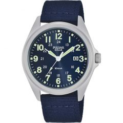Pulsar Solar PX3223X Blue Resin Band Mens Watch
