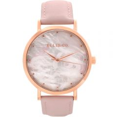 Ellis & Co Holly Mother of Pearl Rose Patterned Dial Pink Leather Band