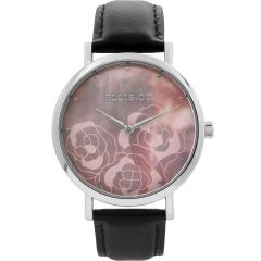 Ellis & Co Holly Mother of Pearl Rose Patterned Dial Black Leather