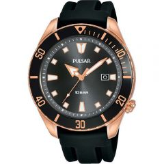Pulsar PG8312X Rose Gold & Black Mens Rubber Watch