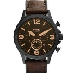 Fossil Nate JR1487 Chronograph Brown Leather Mens Watch