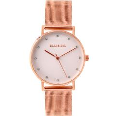 Ellis & Co 'Broadway' Rose Gold Tone Mesh Womens Watch
