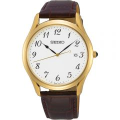 Seiko SUR306P Stainless Steel Brown Leather Mens Watch