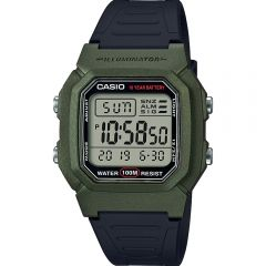 Casio W800HM-3A Digital Green and Black 50M Mens