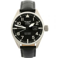 Aviator Airacobra P42 V.1.22.0.148.4 Black Leather Mens Watch