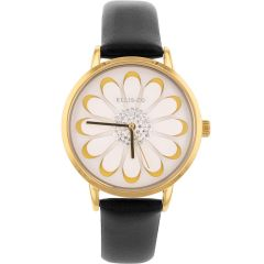 Ellis & Co 'Ella' Black Leather Womens Watch