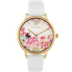 Ellis & Co 'Bloom' White Leather Womens Watch