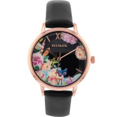 Ellis & Co 'Bloom' Black Leather Womens Watch