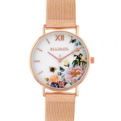 Ellis & Co 'Iris' Floral Stainless Steel Mesh Bracelet Womens Watch
