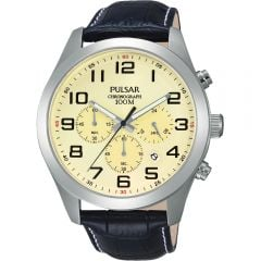 Pulsar PT3665X Cream Dial Chronograph Mens Watch