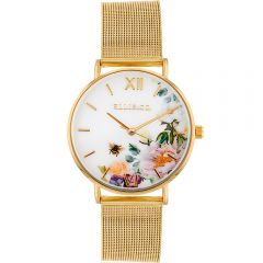 Ellis & Co 'Iris' Floral Stainless Steel Mesh Braclet Womens Watch