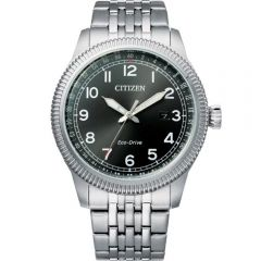 Citizen Eco Drive BM7480-81E Military Stainless Steel Mens Watch