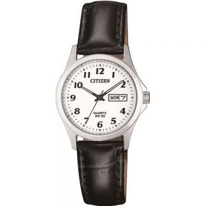 Citizen EQ200002A Stainless Steel Ladies Watch With Black Leather Band