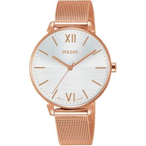 Pulsar PH8448X Rose Stainless Steel Mesh Womens Watch