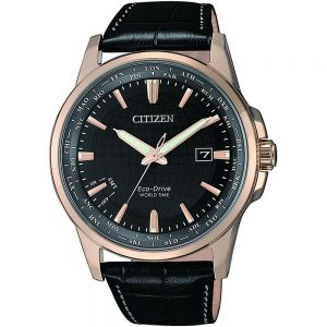 Citizen World Time BX1008-12E Black Leather Mens Watch