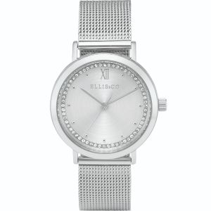 Ellis & Co Akira Silver Stainless Steel Mesh Womens Watch