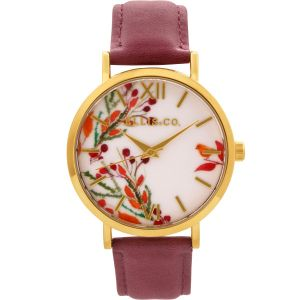 Ellis & Co Holly Floral Dial Burgundy Leather Band