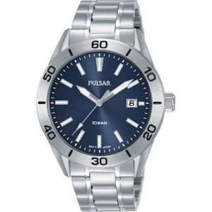 Pulsar PS9645X Blue Dial Stainless Steel Mens Watch