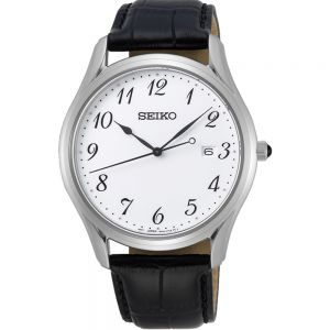 Seiko SUR303P Stainless Steel Black Leather Mens Watch