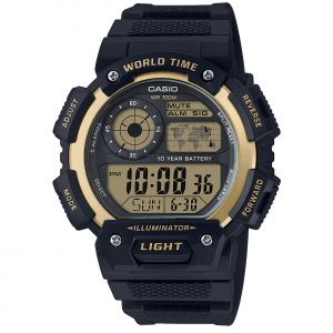 Casio AE1400WH-9A World Time Black Resin Digital Mens Watch