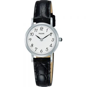 Pulsar PM2249X Black Leather Strap Womans Watch