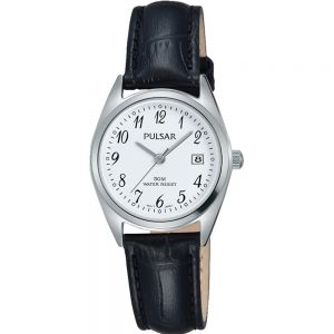 Pulsar PH7447X Black Leather Strap Womans Watch