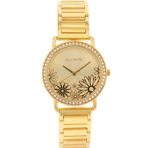Ellis & Co Floral Crystal Set Womens Watch