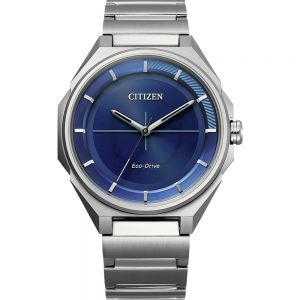 Citizen Eco-Drive Silver and Blue BJ6531-86L Mens Watch