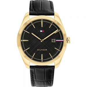 Tommy Hilfiger Theo 1710428 Black leather Mens Watch