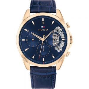 Tommy Hilfiger Baker 1710451 Multi Function Blue Leather Mens Watch