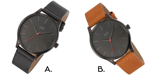 JAG watches are perfect masculine watches for ladies. Both black and tan options are pictured.